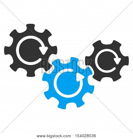 Transmission Gears Rotation glyph pictogram. Style is flat graphic bicolor symbol, blue and gray colors, white background.