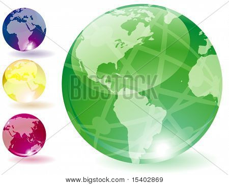 Transparent globes. Vector icons.