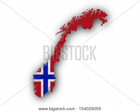 Map And Flag Of Norway On Linen