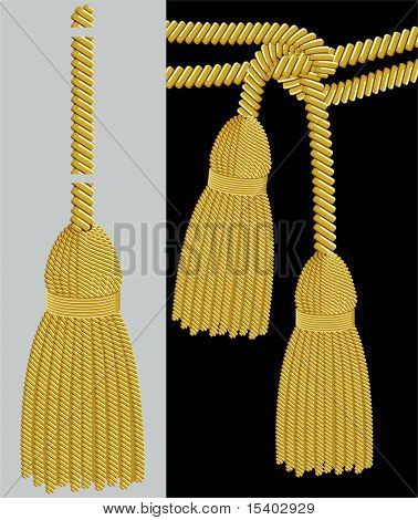 Gold tassel adobe illustrator pattern brush. Vector.