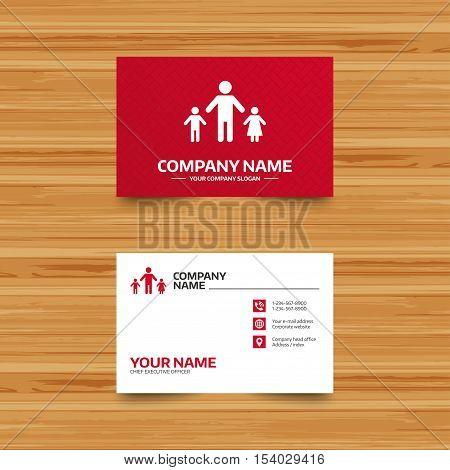 Business card template. One-parent family with two children sign icon. Father with son and daughter symbol. Phone, globe and pointer icons. Visiting card design. Vector