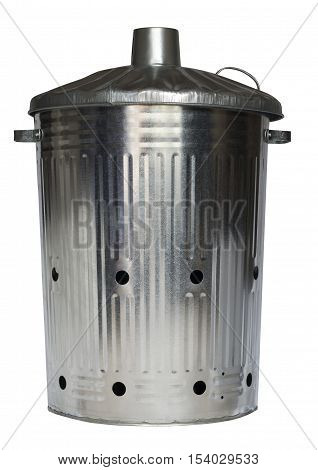 Galvanised incinerator gardening dustbin on an isolated white background with a clipping path
