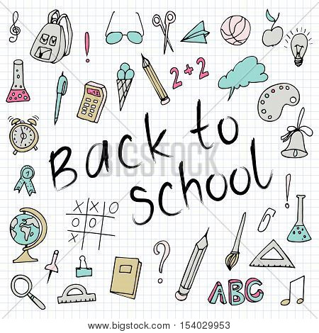 Hand drawn back to school doodles. Paper Background. Vector illustration. Hand drawing school items on a sheet of exercise book. Hand drawing school items on a sheet of exercise book.