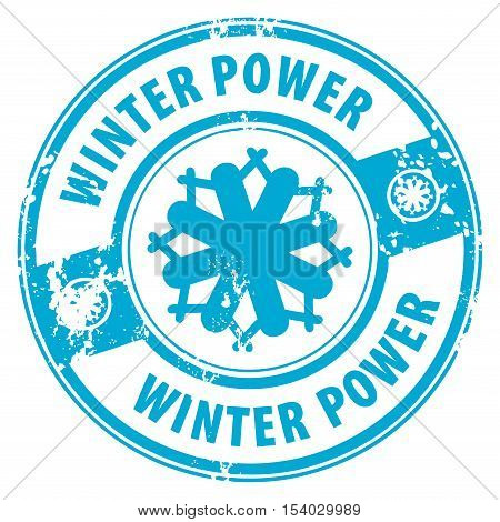Abstract grunge rubber stamp with the word Winter Power guarantee written inside the stamp, vector illustration