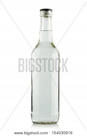 full bottle of vodka on a white background