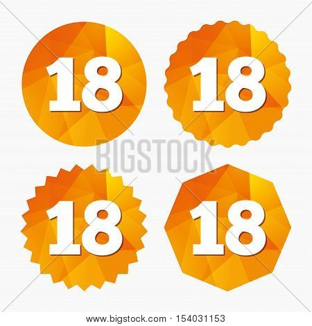18 years old sign. Adults content icon. Triangular low poly buttons with flat icon. Vector