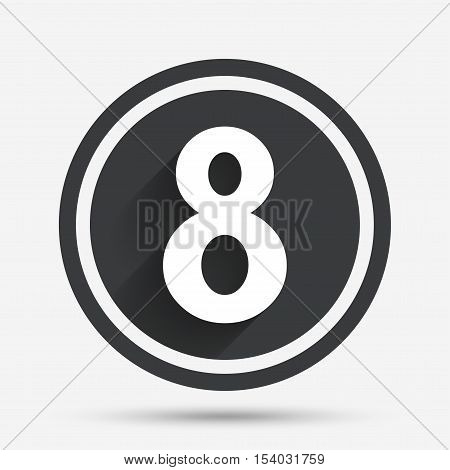 8 March Women's Day sign icon. Eight symbol. Circle flat button with shadow and border. Vector