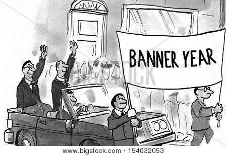 Black and white illustration of a parade, 'banner year'.