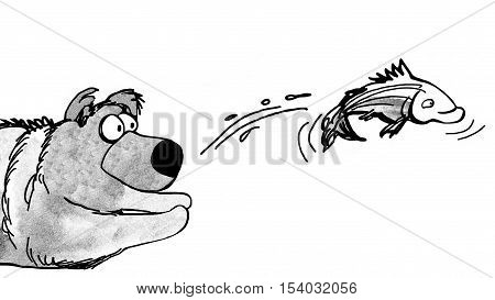 Black and white illustration of a bear trying to catch a fish.
