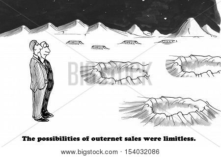 Black and white business illustration on a planet with limitless sales opportunities.