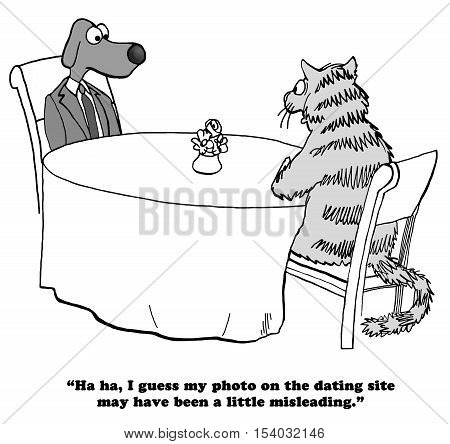 Black and white illustration of a cat and a dog on a first date, the cat intentionally submitted a misleading photo.