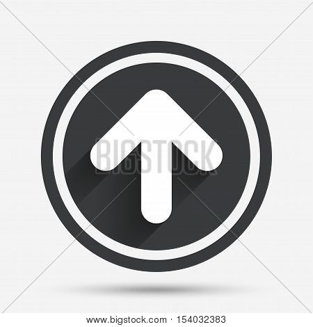 Upload sign icon. Upload button. Load symbol. Circle flat button with shadow and border. Vector