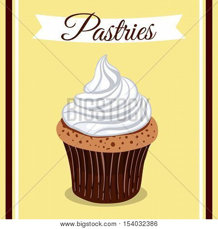 Hand drawn creamy cupcake on yellow background. Vector illustration. Can be used for design of bakery or for cafe.