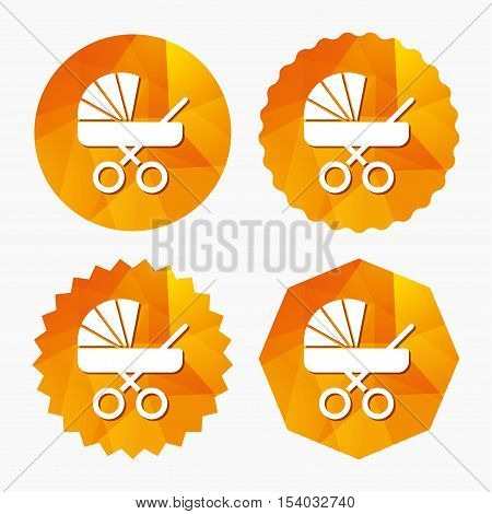 Baby pram stroller sign icon. Baby buggy. Baby carriage symbol. Triangular low poly buttons with flat icon. Vector