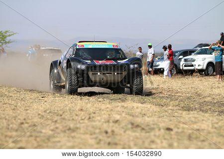 Speeding Black Cr-2 Rally Car Front View