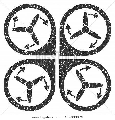 Copter Screws Rotation grainy textured icon for overlay watermark stamps. Flat symbol with dirty texture. Dotted glyph gray ink rubber seal stamp with grunge design on a white background. poster