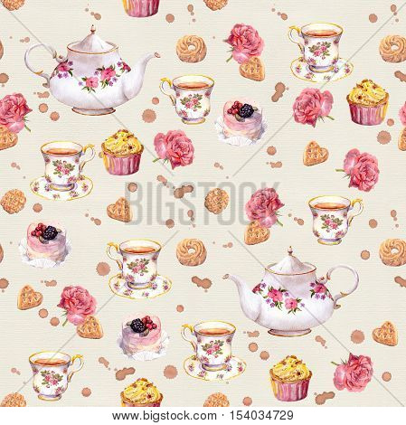 Tea pot, teacup, cakes and flowers. Repeated tea time wallpaper. Watercolor