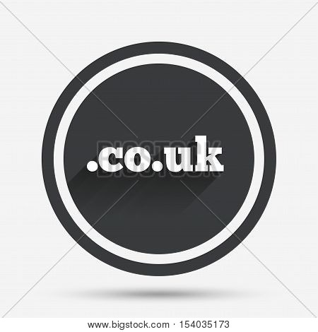 Domain CO.UK sign icon. UK internet subdomain symbol. Circle flat button with shadow and border. Vector