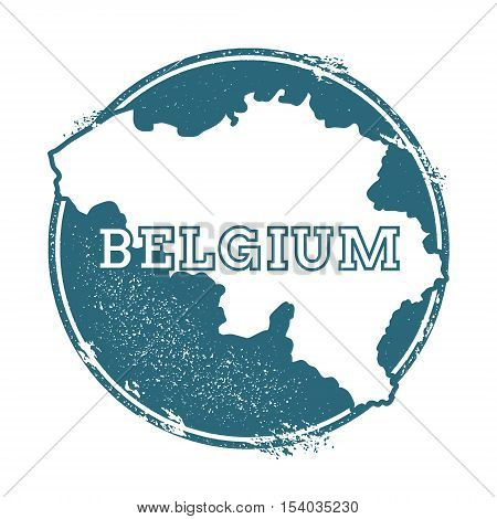 Grunge Rubber Stamp With Name And Map Of Belgium, Vector Illustration. Can Be Used As Insignia, Logo