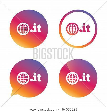 Domain IT sign icon. Top-level internet domain symbol with globe. Gradient buttons with flat icon. Speech bubble sign. Vector