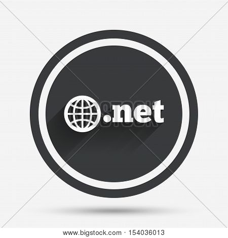 Domain NET sign icon. Top-level internet domain symbol with globe. Circle flat button with shadow and border. Vector