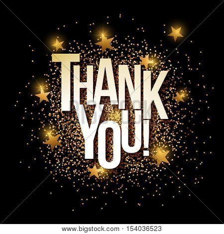 Thank You banner with gold glitter. Vector illustration. Elements are layered separately in vector file.
