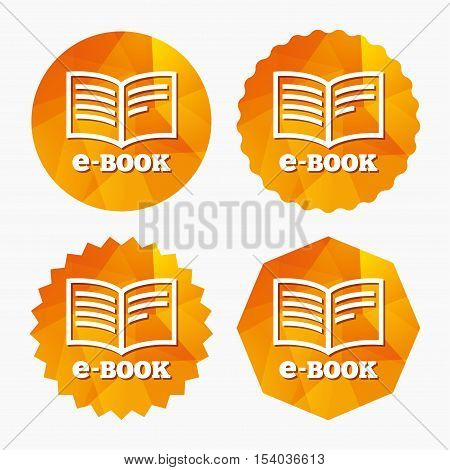 E-Book sign icon. Electronic book symbol. Ebook reader device. Triangular low poly buttons with flat icon. Vector