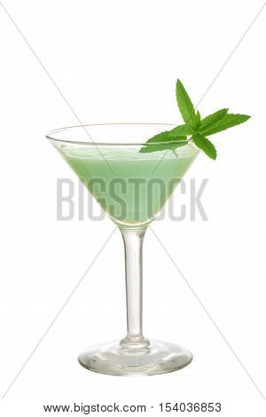 isolated grasshopper cocktail with mint on white