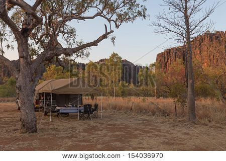 Off-road camper trailer in campground at Windjana Gorge, Kimberley Region, Western Australia.