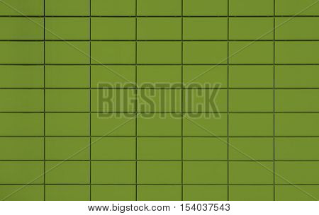 View of a Green tiled wall suitable for backgrounds