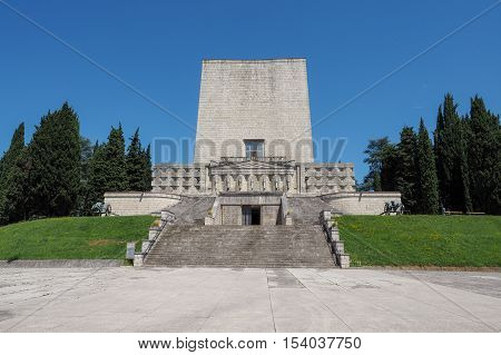 Ossary and memorial for italian soldiers of WWI located on Montello hills near Nervesa Veneto