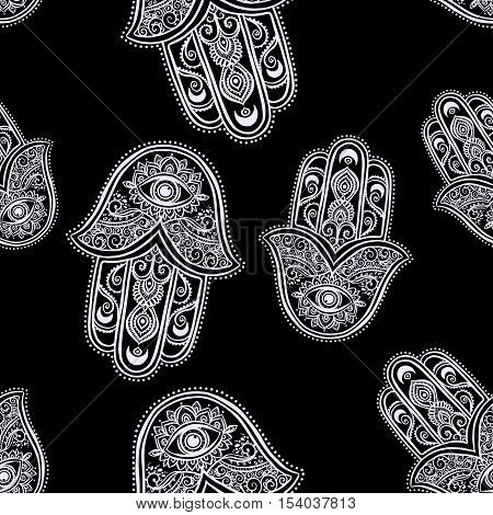 Ornament card with hamsa. The Hamsa is a palm-shaped amulet talisman hand made in vector.Card  kaleidoscope, medallion, yoga, india, arabic, Israel
