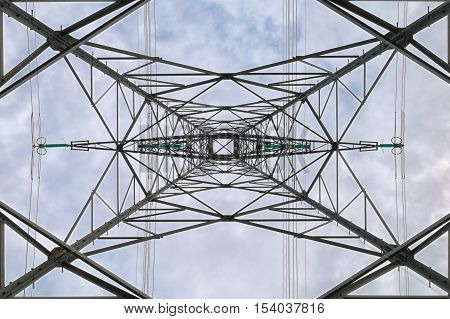 geometric view under of a high voltage pylon