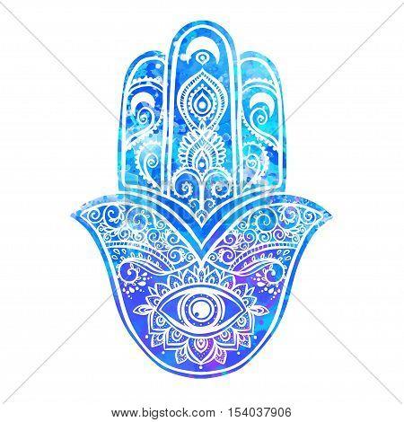 Ornament card with hamsa. Geometric circle element made in vector. Talisman ornamental hamsa, symbol Eye protection. Kaleidoscope,  pattern, yoga, india, arabic