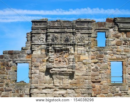 Ruins of castle wall in St Andrews, Scotland