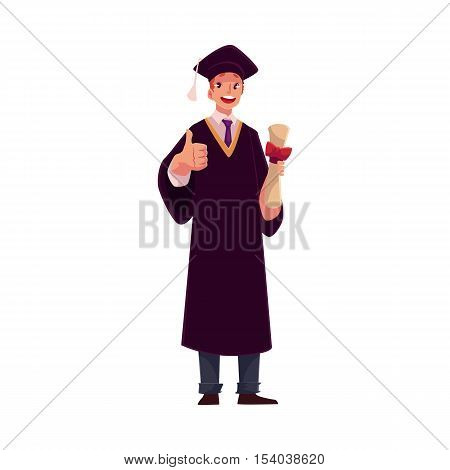 Male student in traditional graduation gown and cap holding diploma and giving thumb up, cartoon style illustration isolated on white background. Young man in academic dress graduating from University