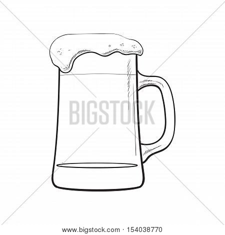 Big mug of cold beer with foam and bubbles, sketch style vector illustration isolated on white background. Hand drawn frosty mug of ice cold beer, lager, ale, Oktoberfest symbol