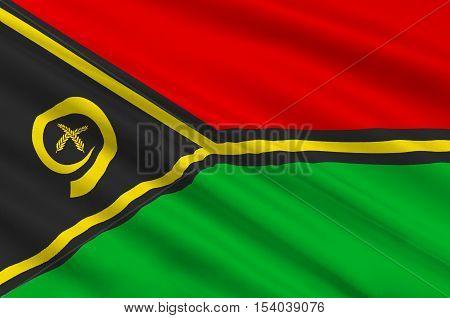 Flag of Vanuatu, Port Vila in Melanesia. 3d illustration
