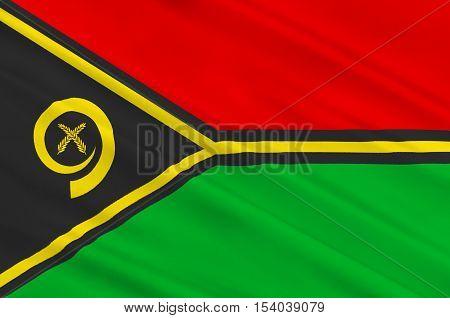 Flag of Vanuatu, Port Vila, Melanesia. 3d illustration