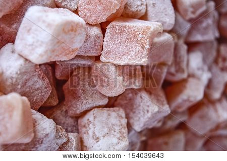Beautiful sweet and soft specialty Turkish delight waiting for the market to buy some.