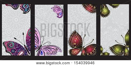 Set of business cards with colorful vintage gradient butterflies on black. Vector