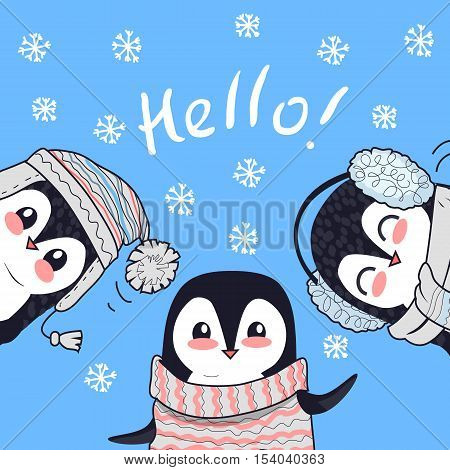 Hello conceptual banner. Three little penguins saying greetings. Penguin animals in sweater, hat and headphones. Endless texture with polar winter birds. Wallpaper design with cartoon character. Vector