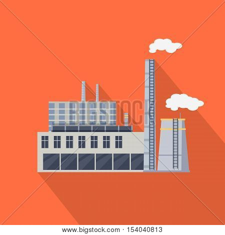 Factory building with pipes in flat. Industrial factory building concept. Industrial plant with pipes. Plant with smoking chimneys. Factory icon. Vector illustration with long shadow.