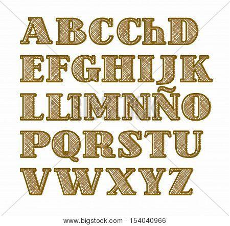 Spanish alphabet, capital letters-effect burlap, imitation, vector. Vector font on white background. Imitation rough textile weave.