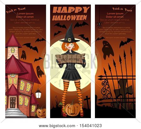 Halloween orange banners set with girl in witch costume on a background of the full moon, jack-o'-lantern, graveyard and haunted house. Vector illustration