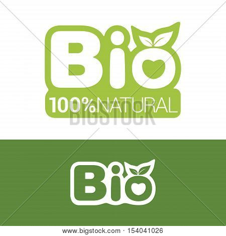 Bio label or badge with leaves for organic natural bio and eco product isolated on white background. Creative bio vector logo design. Logo icon design