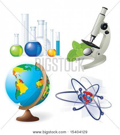 Natural sciences vector icon set.