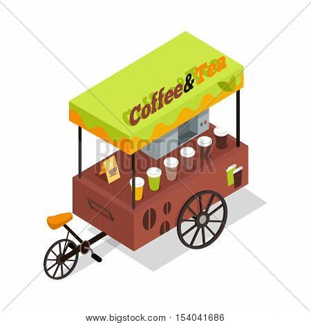 Coffee and tea trolley in isometric projection. Street fast food concept. Food truck with umbrella illustration. Isolated on white background. Hot refreshing tasty drinks beverages. Vector