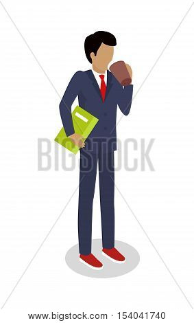 Street food buyer isolated. Man in expensive suit drinks coffee. Cartoon character with hot beverage. Concept illustration for street food consumption. Quick snack. Fast food. Vector in flat design