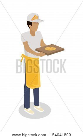Pizza seller with fresh cooked pizza isolated. Street food vendor. Italian food salesman. Food restaurant worker. Human market seller. Shop worker, chief face. Delivery man icon. Vector illustration